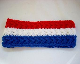 Toddler Earwarmer, USA Crochet Ear Warmer, American Flag, Girl Ear Warmer, Boy Ear Warmer, Crochet Earwarmer USA, Red White and Blue Apparel