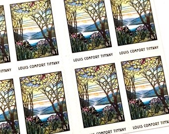20 x Louis Comfort Tiffany Memorial Window 41 cents UNused US postage stamps - Stained Glass - for invites, mail art, photo styling