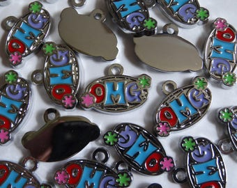 10 Silver Enamel 'OMG' Jewellery Craft Message Charms Tags 15x21mm