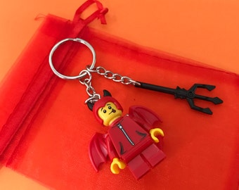 Lego Halloween Trick or treating Minifigure in Devil Costume keychain / keyring!