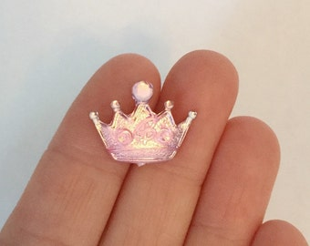 10 Pink Crown Cabochons / 22 mm / Jewelry Crowns / Craft Crown Cabochon / Scrapbooking Crowns / Cabochon / CA1