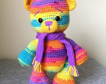 Crochet Teddy Bear, Amigurumi Teddy Bear, Crochet Rainbow Teddy Bear, Crochet Plush Teddy Bear
