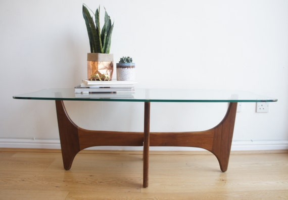 Mid Century Teak And Glass Atomic Coffee Table