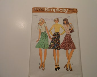 Simplicity Vintage Wrap Around Skirt Pattern Size 16 1974