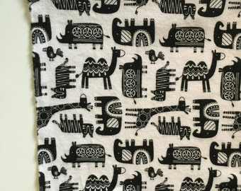 Black and white jungle animal receiving blanket