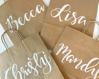 Hand Lettered Kraft Gift Bags, Custom Gift Bags, Wedding Welcome Bags, Wedding Favors, Personalized Gift Bags, Calligraphy