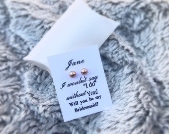 """Gold """"will you be my bridesmaid"""" earring bridesmaid custom gift or maid of honor gift with bridesmaid or maid of honor card"""