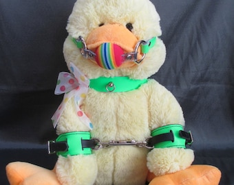 Fetibear Teddybear, Plushie, stuffie Dressed in Leather kink outfits