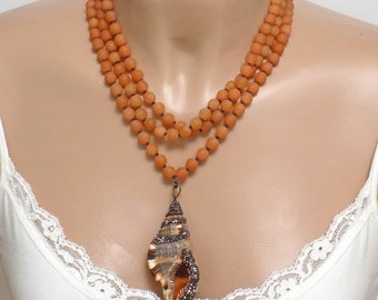 Orange Statement Necklace, Layered Necklace, Handmade Beaded Jewelry, Bohemian Necklace, Sea Shell Necklace, Conch Shell Necklace