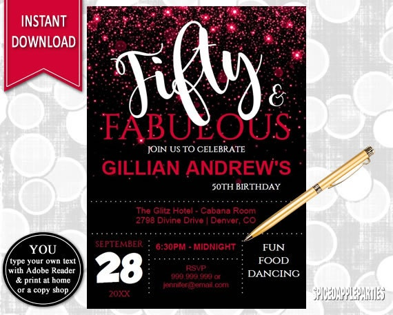 50th Birthday Invitation For Women Red