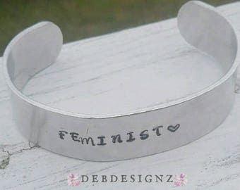 Feminist Handstamped Cuff/Aluminum/Handmade/Jewelry/Feminism/Bracelet/Custom