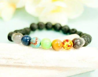 """Chakra Bracelet Natural Stone Lava 7,09"""" # 4235"""