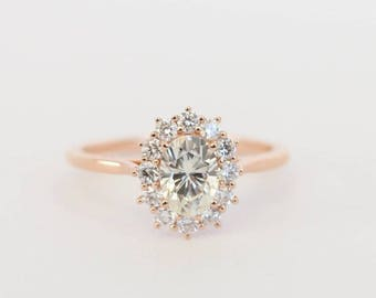 Rose Gold Moissanite Ring, Oval Moissanite, Diamond Halo Ring, Halo Engagement, Moissanite Engagement, Rose Gold, Rose Gold Moissanite