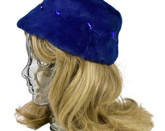 1950's Vintage Women's S Cobalt Blue Fur Pelt Embellished Bucket Hat Jewels
