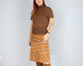 "1970s Boho Style Patchwork Striped A-Line Corduroy Skirt Orange Yellow Aqua Gold Green Brown Size XS Small 26"" Waist"