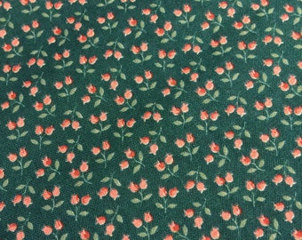 Vintage Floral Fabric. FQ. Vintage Calico Fabric. Rose Bud Fabric. Kessler Fabric. Quilting Cotton. Shabby Chic Fabric. Rose Fabric.