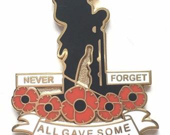 Never Forget Remembrance Poppy Soldier Commemorative Enamel Lapel Pin Badge