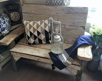 """Farmhouse bench , rustic untouched distressed finish , 150 years old barn wood 47""""L X 38"""" H X 25""""D"""