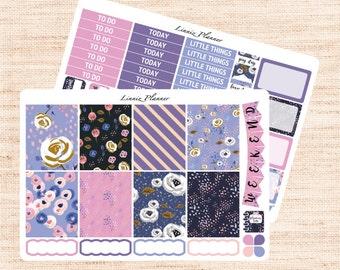 Purple Florals Little Weekly Kit (matte planner sticker, fits perfect in Erin Condren Life Planner Vertical)