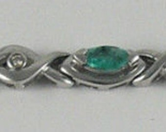Emerald Bracelet 1.43ct 14k White Gold with Diamonds 0.10ct