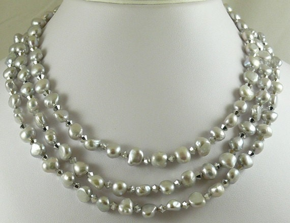 Freshwater Gray Pearl Triple Strand Necklace with Crystal and Silver Clasp