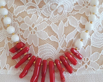 Coral necklace red and white coral, summer necklace