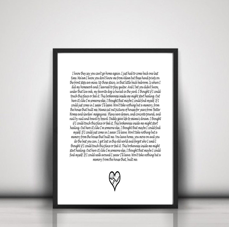 House That Built Me song lyrics Wall Art Instant Digital