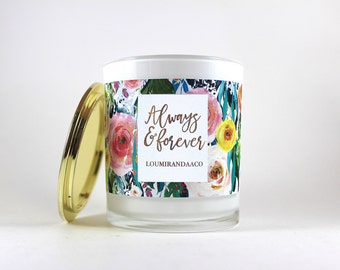 Personalised gold floral anniversary, birthday, christmas, bridesmaid or special occasion 250ml Soy Candle