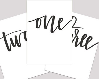 Hand Lettered Printable Table Numbers | Printable Table Numbers