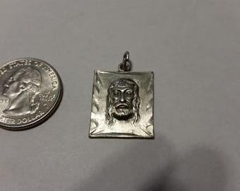 Vintage sterling silver square Jesus pendant baer