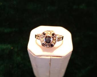 Vintage Sapphire & Opal Sterling Silver Ring Size 7 1.8g AFSP
