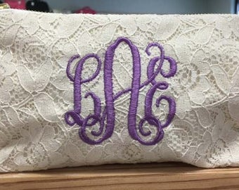 Monogram Bridesmaid Gift Mother's Day Clutch Lace Bridal Pouch Free Monogram Bachelorette Favors