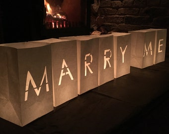 Marry Me Candle Bag Lanterns, Engagement Candles, Proposal Lantern Bags