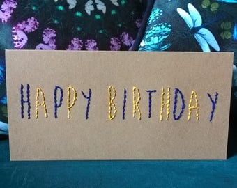 Hand stitched embroidered Happy Birthday card