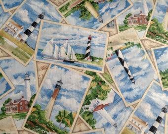 Lighthouse Beach Ocean Fabric