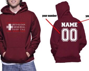 Custom back Grey Sloan Memorial Hospital on Unisex Hoodie Sweatshirt Color Maroon
