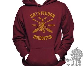 KEEPER - Gryffin Quidditch team Keeper Yelow print printed on MAROON Hoodie