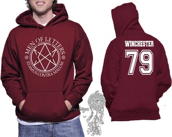Winchester 79 Dean Winchester Men Of Letters Logo Supernatural printed on Unisex Hoodie MAROON