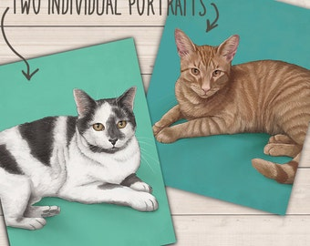 TWO INDIVIDUAL PORTRAITS. Detailed Pet Portraits. Personalized pets portrait. Portrait drawing. Custom illustration. Bespoke illustration.