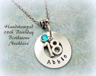 18th Birthday Gift, Personalized Handstamped Girl Birthstone Necklace, Gift for Girl's 18th Birthday, Teenager Jewelry, Gift for Girl