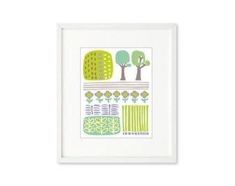 Garden Park - single print, contemporary graphic, garden, abstract botanical, trees, simplified landscape, modern, wall art, home décor