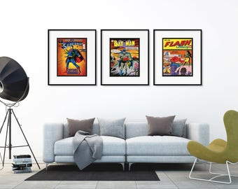 SuperHero Wall Art Wall Decor, SuperHero Posters Batman Superman Flash