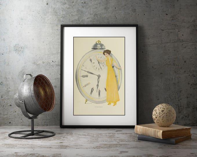 Wall Art for Living Room, Bedroom Framed Art, Art Deco Decor, Wall Art for Girls, Flapper Poster, 1920's Illustration