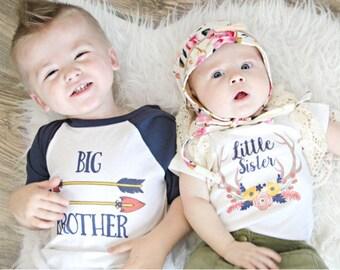 Big Brother Little Sister Shirts;Matching Sibling Shirts;Tribal Baseball Shirt;Pregnancy Announcement;Big Brother Shirt;Big Brother