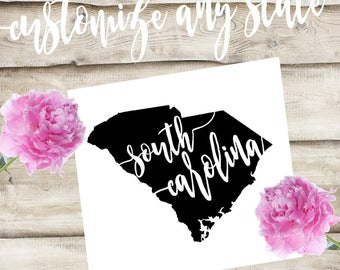 South Carolina Custom State Laptop / Phone / Car Decal