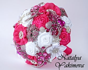FULL PRICE. Brooch Bouquet, Bridal Bouquet, Wedding Bouquet, Fabric Bouquet, Unique Bouquet, fuchsia white pink