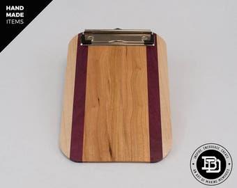 Small Clipboard - Purple heart - Custom Clipboard - Wood Clipboard - Handmade Clipboards - Unique Gift - Business Gift - Anniversary Gift