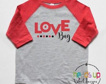 Love Bug Shirt Toddler Boy/Girl - Baby Boy/Girl Valentine's Day Bodysuit - Love Bug Raglan Tee Kids - Trendy Valentine's Day tshirt - Gift