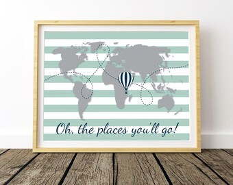 Oh The Places You'll Go, Kids World Map, World Map Wall Art, World Map Poster, Large World Map, World Map Print, World Printable Map