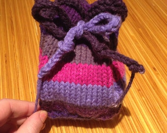 Knitted Knit Dice Bag or Coin Purse
